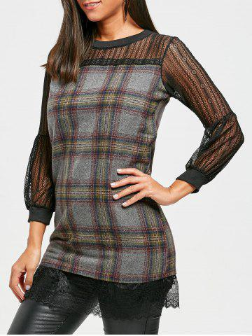 Lace Panel Wool Blend Plaid Dress