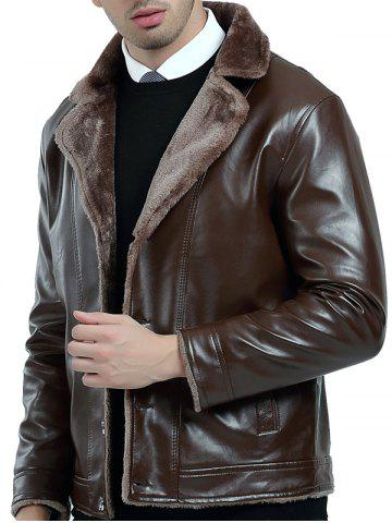Fleece Button Up PU Leather Jacket