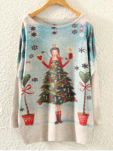 New Christmas Print Dolman Sleeve Knitwear