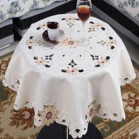 Outfit Round Satin Embroidered Kitchen Table Cloth
