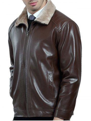 Fleece Lining Zip Up PU Leather Jacket