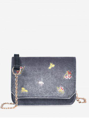 Unique Chain Flowers Embroidery Crossbody Bag