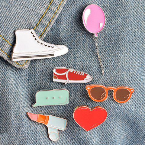 Cheap Lipstick Shoe Balloon Heart Glasses Brooch Set