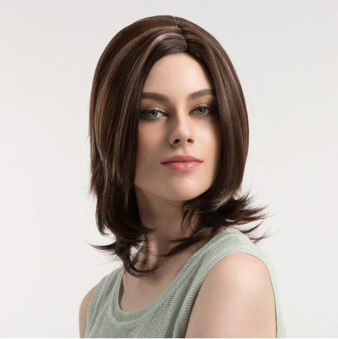 Unique Medium Colormix Side Parting Layered Straight Synthetic Wig