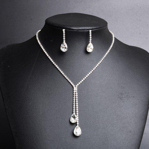 Shops Rhinestoned Faux Crystal Teardrop Jewelry Set