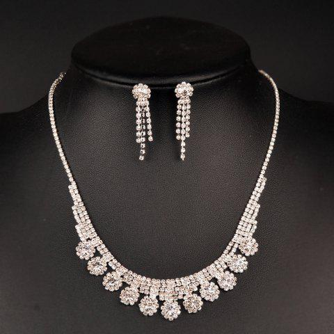 Fancy Sparkly Rhinestone Floral Necklace with Earring Set