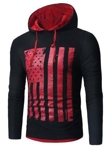 Store Long Sleeve Distressed American Flag Print T-shirt
