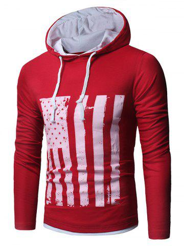 Best Long Sleeve Distressed American Flag Print T-shirt