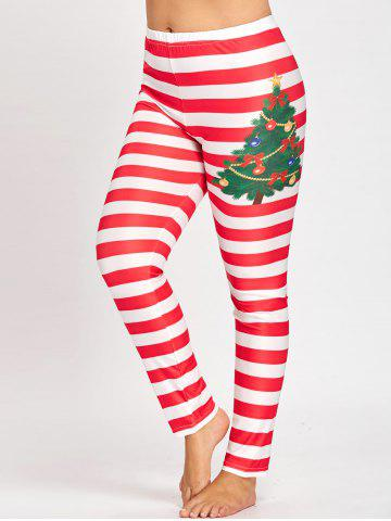 Outfit Plus Size Christmas Striped Printed Leggings