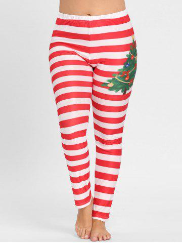 Plus Size Christmas Striped Printed Leggings