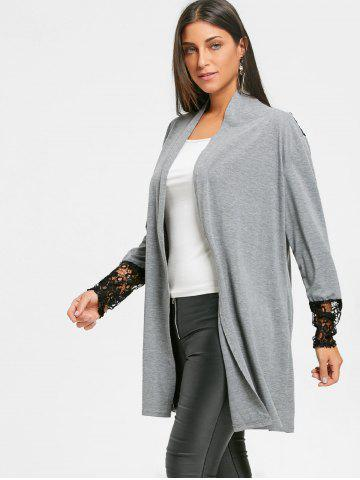 Open Front Lace Panel Tunic Cardigan