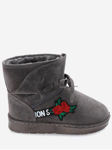 Bow Tie Floral Embroidered Faux Suede Ankle Boots