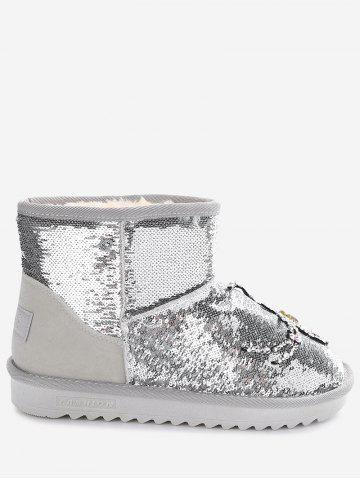 Sequined Rhinestone Spider Snow Boots
