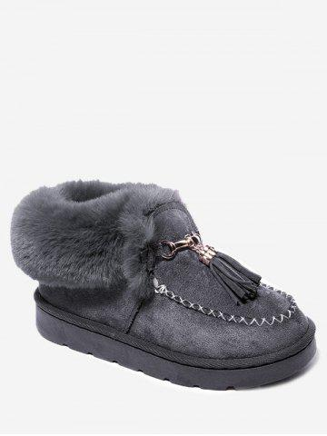 Stitch Faux Fur Tassels Ankle Boots