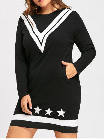 New Plus Size V Stripe Stars Straight Sweater Dress