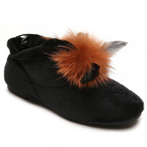 Round Toe Flat Heel Faux Fur Ankle Boots