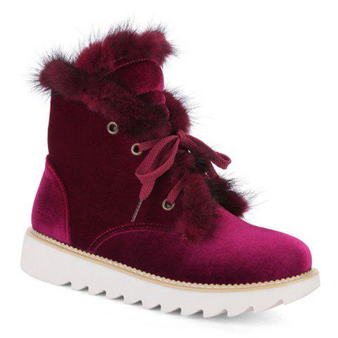 Chic Faux Fur Lace Up Splicing Short Boots