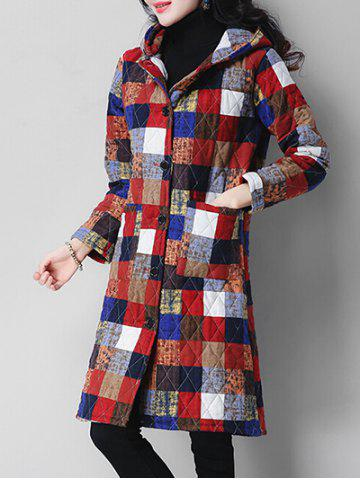Color Block Hooded Quilted Single Breasted Coat