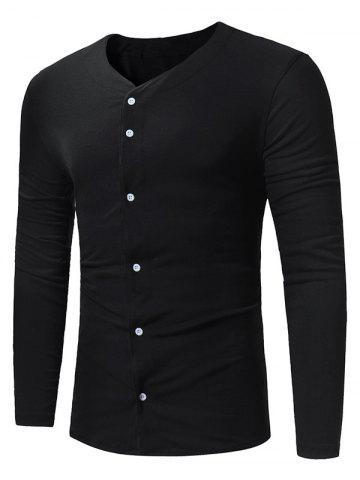 Chic Button Up Long Sleeve T-shirt
