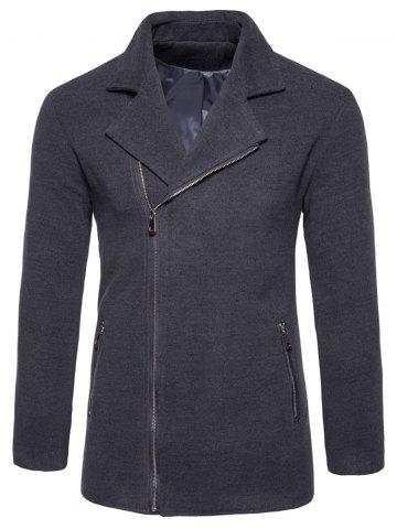 Notch Lapel Asymmetric Zip Fleece Jacket