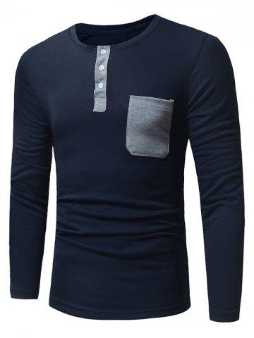 Hot Long Sleeve Pocket Henley T-Shirt