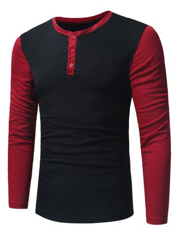 Hot Long Sleeve Color Block Panel Henley T-Shirt