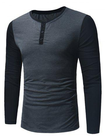 Buy Long Sleeve Color Block Panel Henley T-Shirt