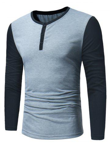 Affordable Long Sleeve Color Block Panel Henley T-Shirt