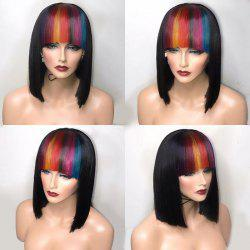 Short Straight Bob Synthetic Wig With Colored Full Bang -