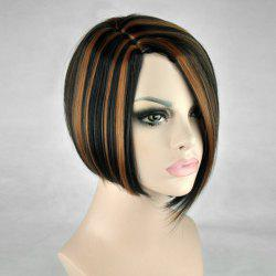 Short Side Parting Straight Bob Highlight Synthetic Wig -