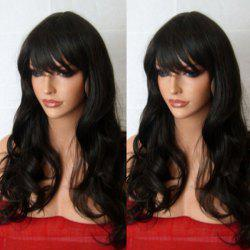 Long Inclined Fringe Wavy Synthetic Wig -