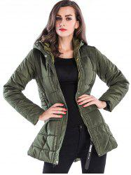Long Zip Up Hooded Down Coat -