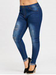 Plus Size  Distressed Ripped Cuffed Jeans -