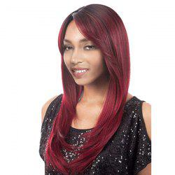 Long Colormix Side Parting Straight Synthetic Wig -