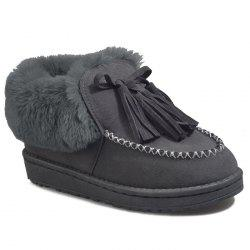 Stitch Faux Fur Tassels Ankle Boots -