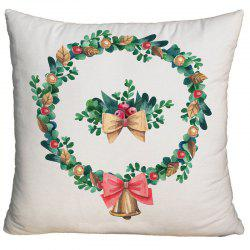 Watercolor Christmas Wreath Printed Square Decorative Pillowcase -