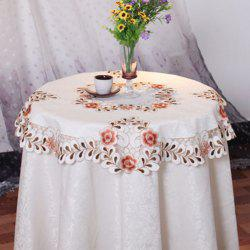 Round Satin Jacquard Embroidered Table Cloth -