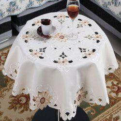 Round Satin Embroidered Kitchen Table Cloth -