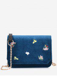 Chain Flowers Embroidery Crossbody Bag -