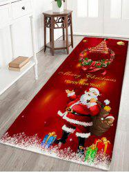 Christmas Wreath Santa Claus Print Antislip Flannel Bath Rug -