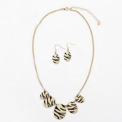 Zebra Oval Necklace with Earring Set -