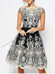 Vintage Embroidery Cap Sleeve Party Dress -