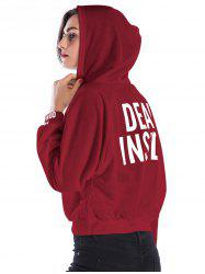 Color Block Letter Short Hoodie -