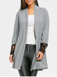 Open Front Lace Panel Tunic Cardigan -