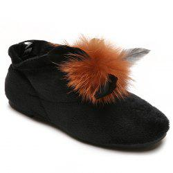 Round Toe Flat Heel Faux Fur Ankle Boots -