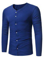 Button Up Long Sleeve T-shirt -