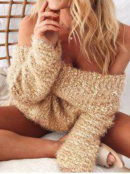 Fuzzy Knit Off Shoulder Sweater -