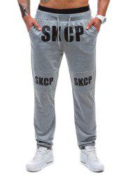 Drawstring Graphic Print Beam Feet Jogger Pants -