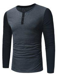 Long Sleeve Color Block Panel Henley T-Shirt -