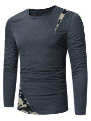 Crew Neck Camouflage Zipper Panel T-shirt -